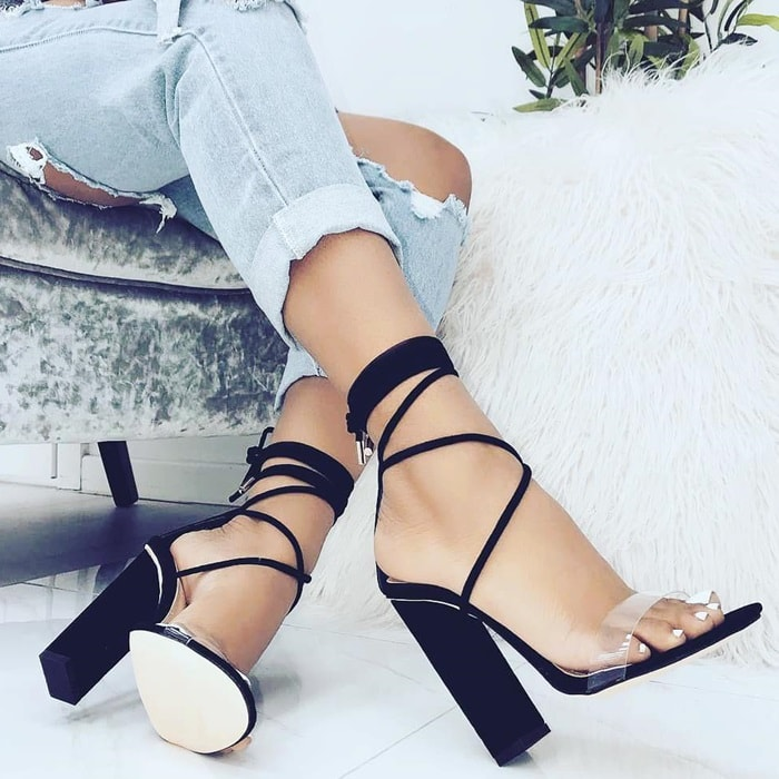Suede clear lace up block Tifany heels