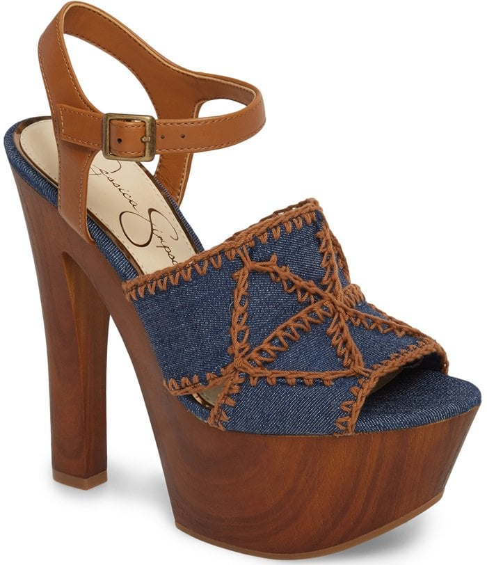 Towering Denim 'Dezzie' Platform Sandals