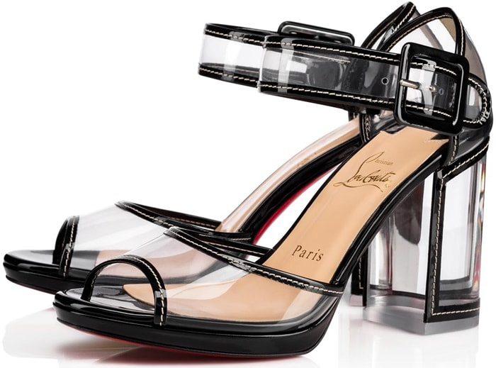 Transparent sandals detailed with patent leather trim