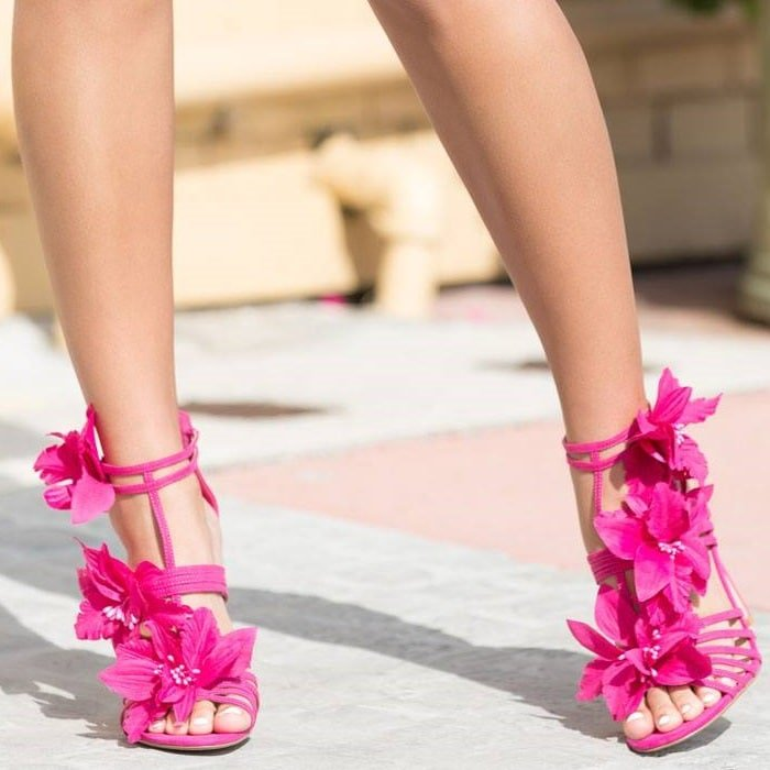 Fuchsia Floral Embellished Stiletto Sandals