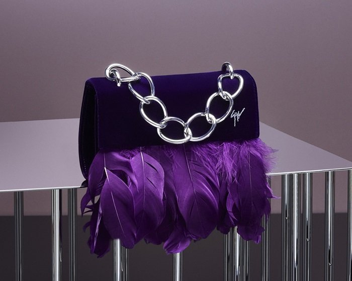 Violet Velvet 'Talia' Clutch With Feathers