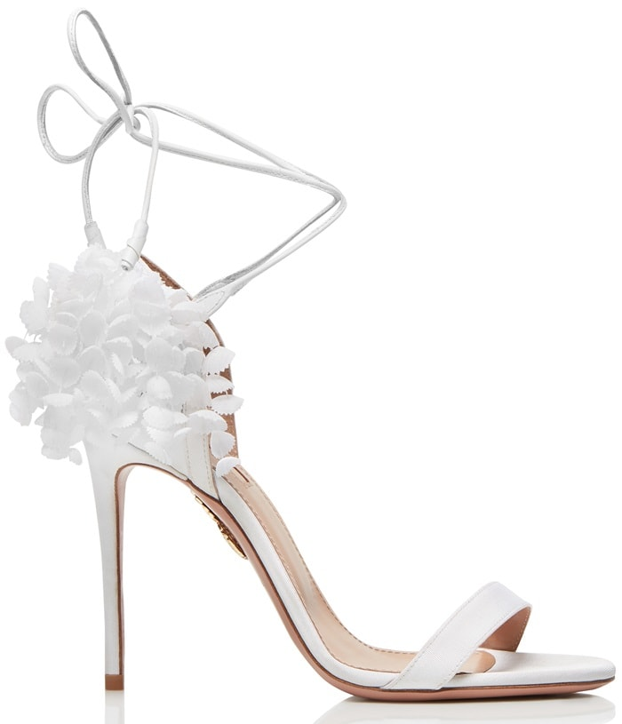 White Lily of the Valley Appliquéd Canvas-Trimmed Suede Sandals