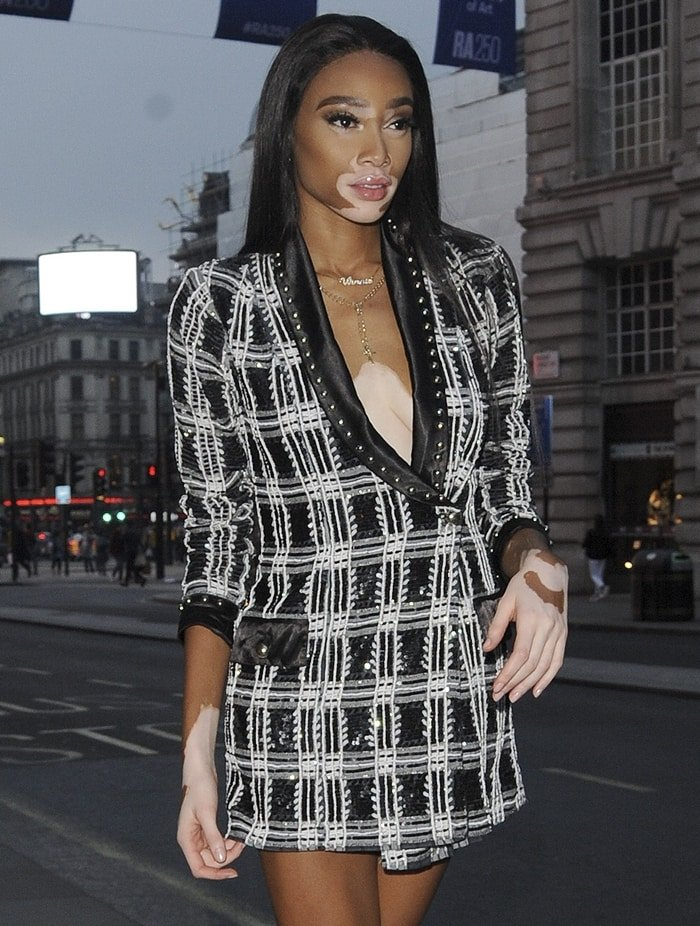Winnie Harlow hosts the REVOLVE 'LA Party In London' at Hotel Cafe Royal on May 31, 2018 in London, England
