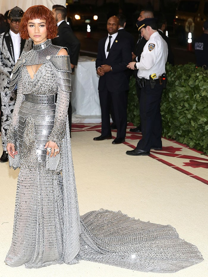 Zendaya channeling Joan of Arc in an Atelier Versace armor and chainmail gown.