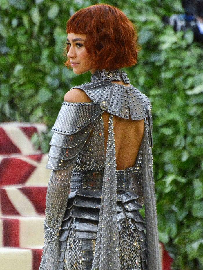 Back details of Zendaya's Atelier Versace armor gown.