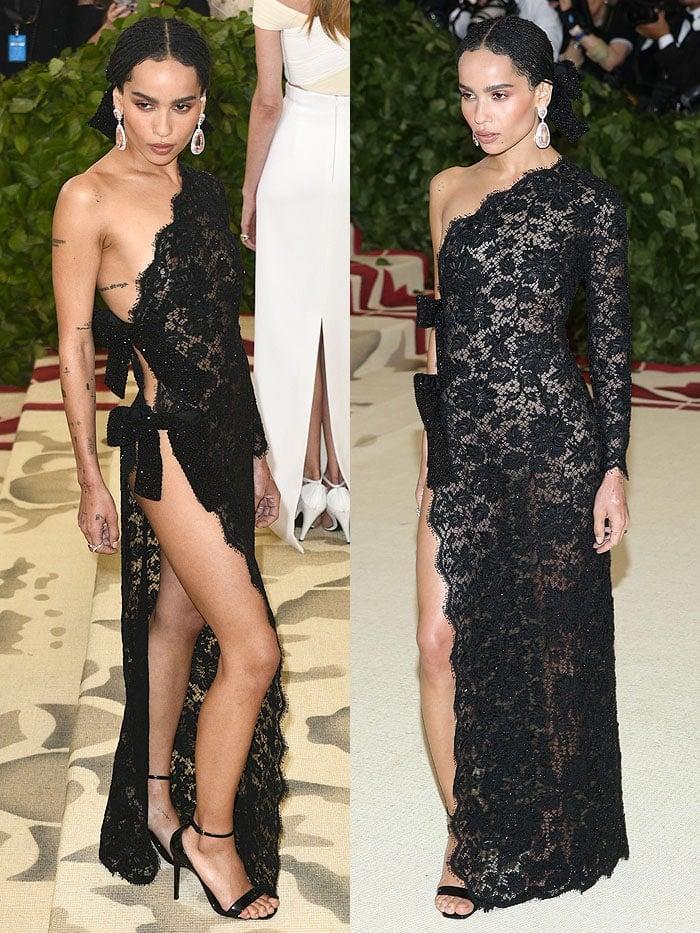 Zoe Kravitz underwear-free in a Saint Laurent black-lace dress and Saint Laurent 'Amber' sandals.