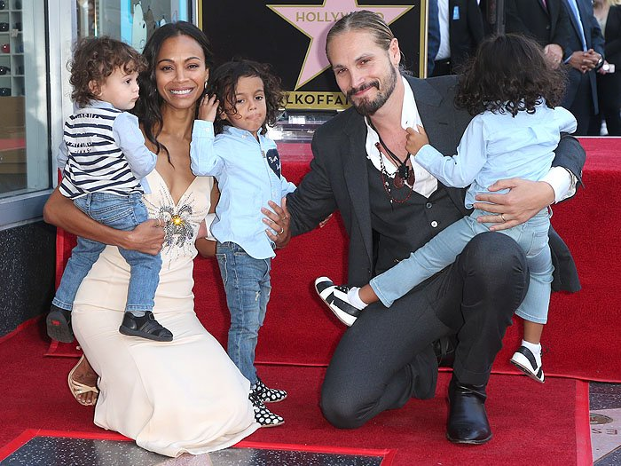 Zoe Saldana with husband Marco Perego and their sons, three-year-old twins Bowie Ezio and Cy Aridio and one-year-old Zen Perego-Saldana