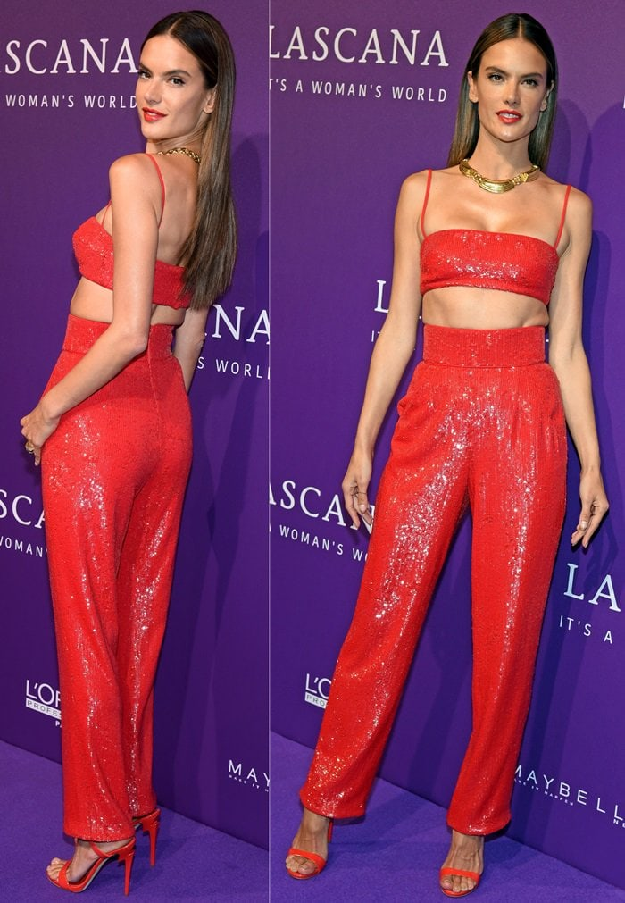 Alessandra Ambrosio in high-waisted sequin pants with a matching cropped top from the Rasario Spring 2018 Collection
