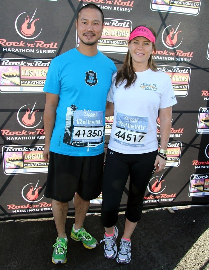 Zappos CEO Tony Hsieh and actress Alison Sweeney arrive at the Rock 'n' Roll Las Vegas Marathon and Half Marathon benefitting the Crohn's & Colitis Foundation of America