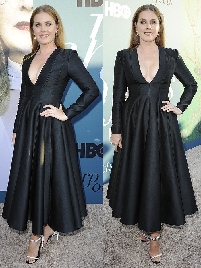Amy Adams in Calvin Klein mismatched sandals and a Calvin Klein by Appointment dress.