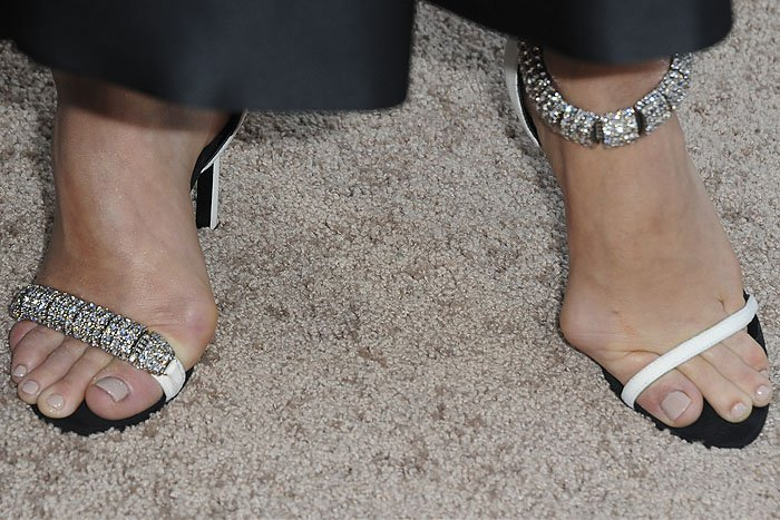 Closeup of Amy Adams' painful-looking bunions in Calvin Klein 'Camelle' sandals.