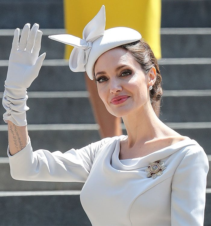 Angelina Jolie wearing her Dame Commander star of the Order of Saint Michael and Saint George