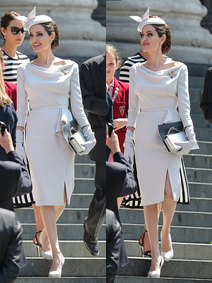 Angelina Jolie at the Service of Commemoration and Dedication to the Bicentenary of the Most Distinguished Order of St. Michael and St. George.