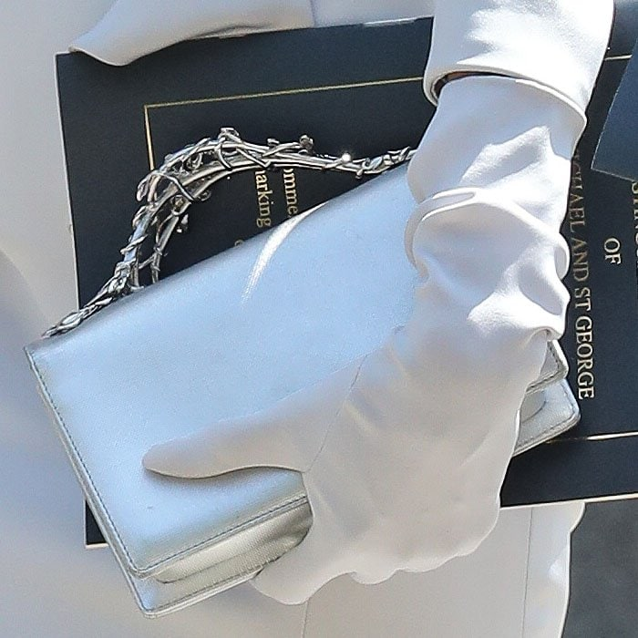 Details of Angelina Jolie's silver Ralph & Russo Eden clutch with silver metal vine handles