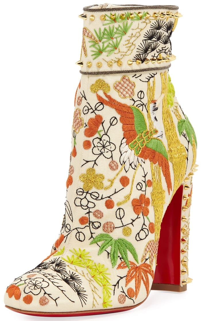 Crane embroidered Bamboot booties from Christian Louboutin that are inspired by the Far East's beauty