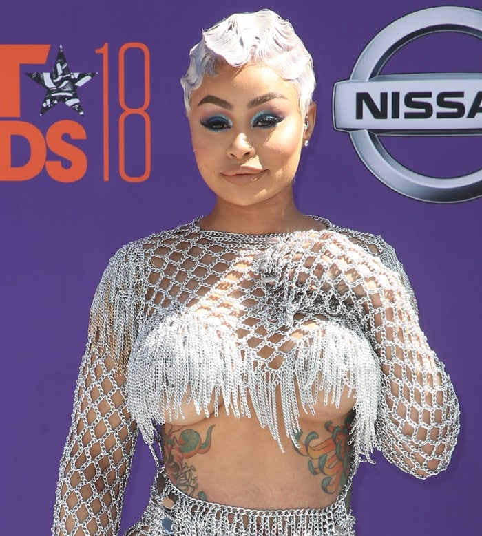 Blac Chyna with a silver, finger-waved pixie cut