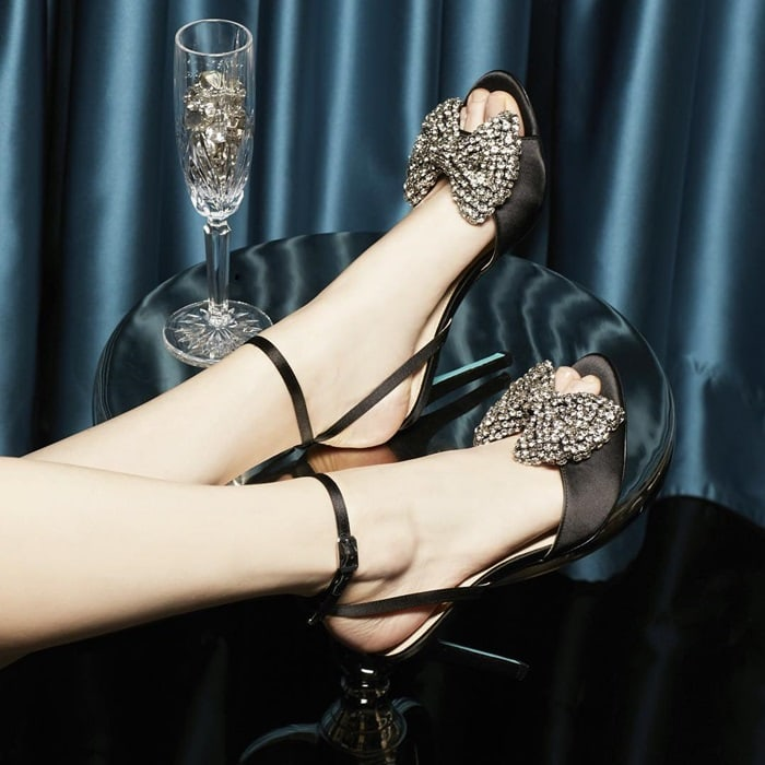 Crystal-Embellished Bow 'Heidi' Sandals