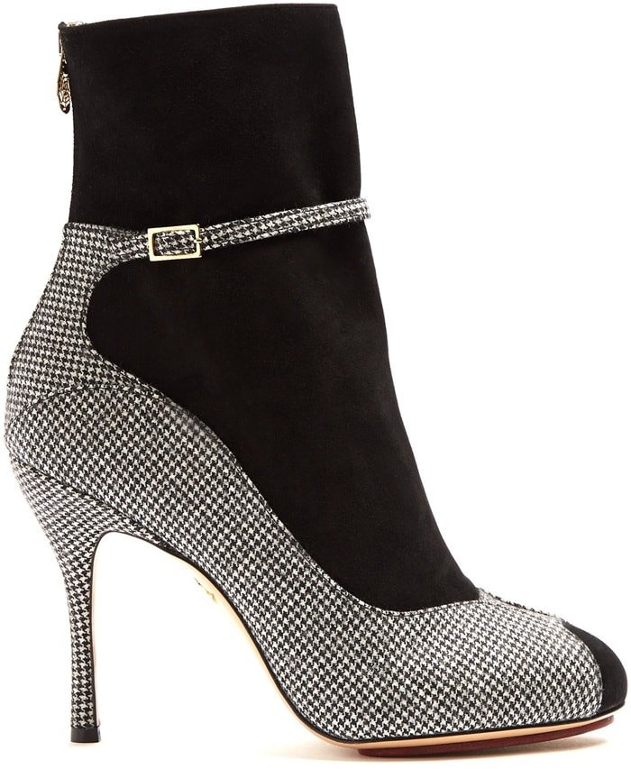 Charlotte Olympia 'Incognito' Houndstooth Suede and Wool Boots