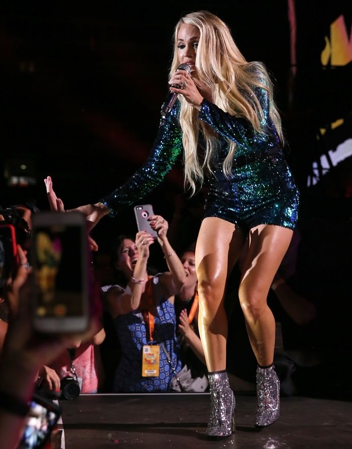 Carrie Underwood wearing Giuseppe Zanotti's 'Luce' suede-trimmed sequined tulle ankle boots