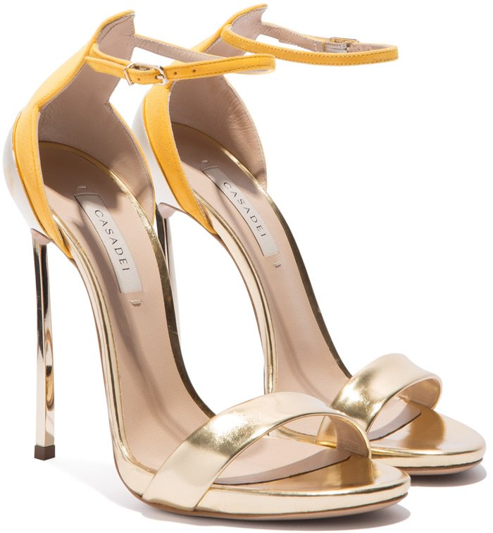 These rose gold-tone and yellow leather heels feature an open toe, an ankle strap and a high stiletto heel