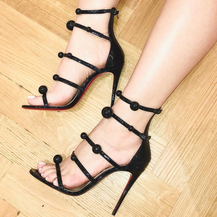 Black Patent Leather 'Atonana' Ornament Sandals
