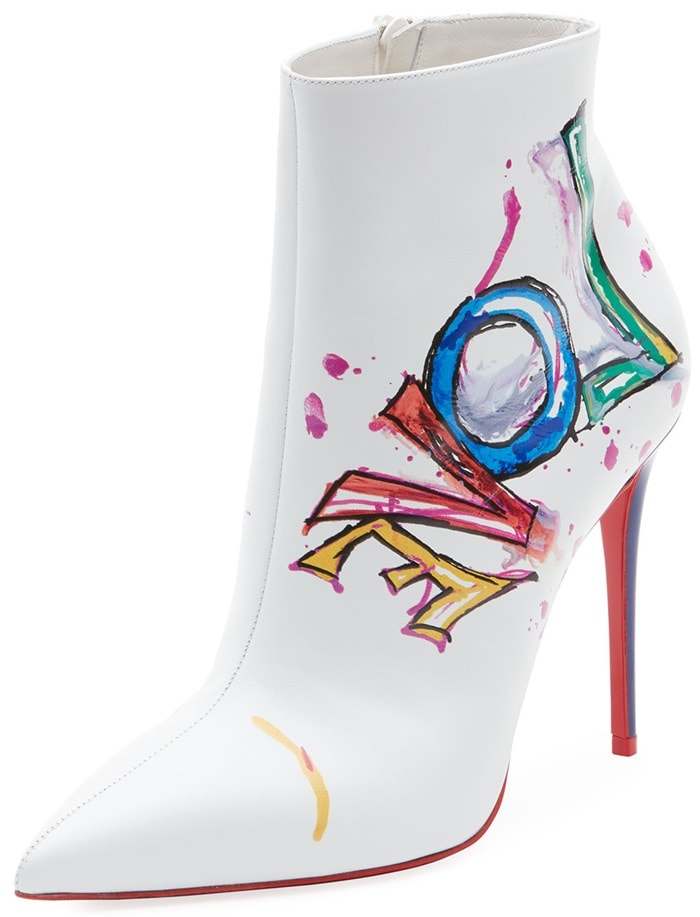 """Christian Louboutin leather boot with multicolor """"Love"""" print"""