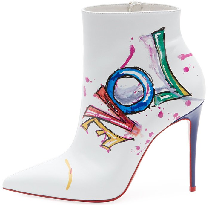 White Boot In Love Printed Red Sole Booties