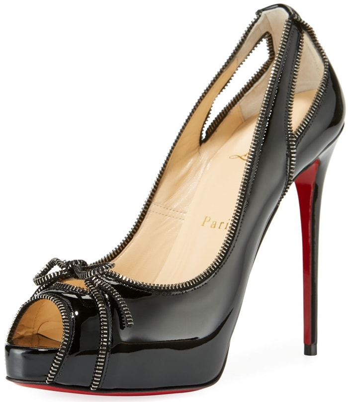 Black 'Colbina' Zipper-Trim Patent Red Sole Pumps
