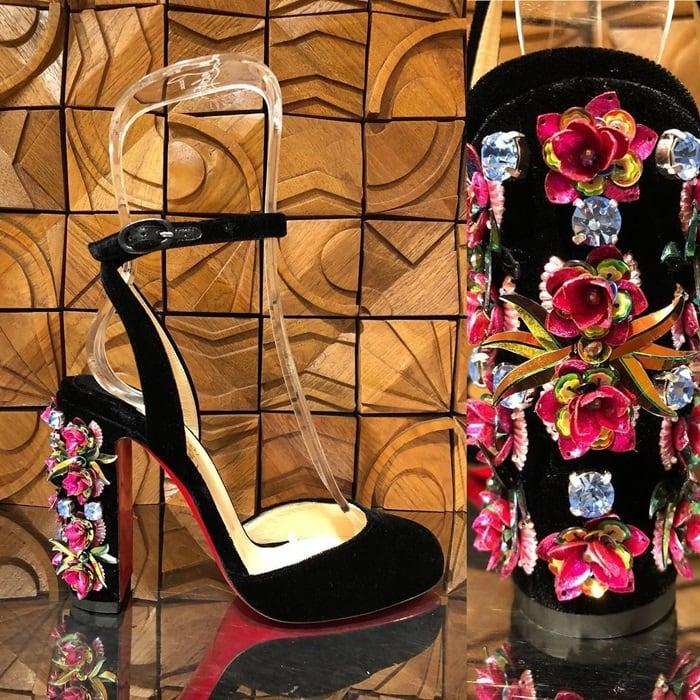 Madonaflor Crystal and Floral Embellished Block Heels