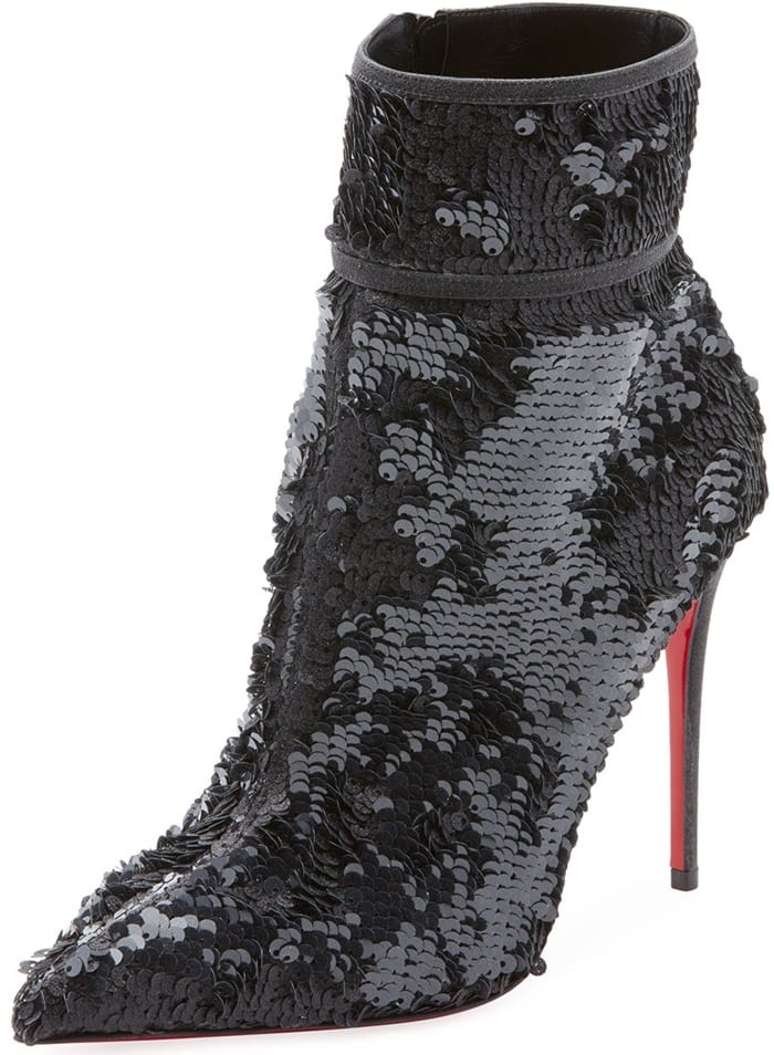 Christian Louboutin allover sequined bootie with leather trim