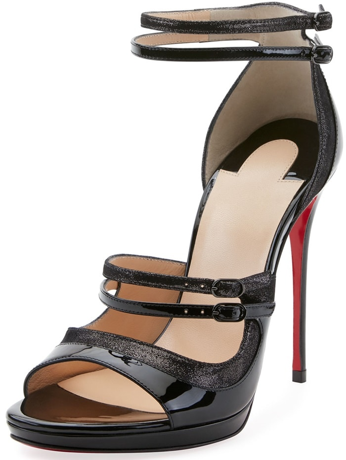 Christian Louboutin patent leather and suede sandal with glitter trim
