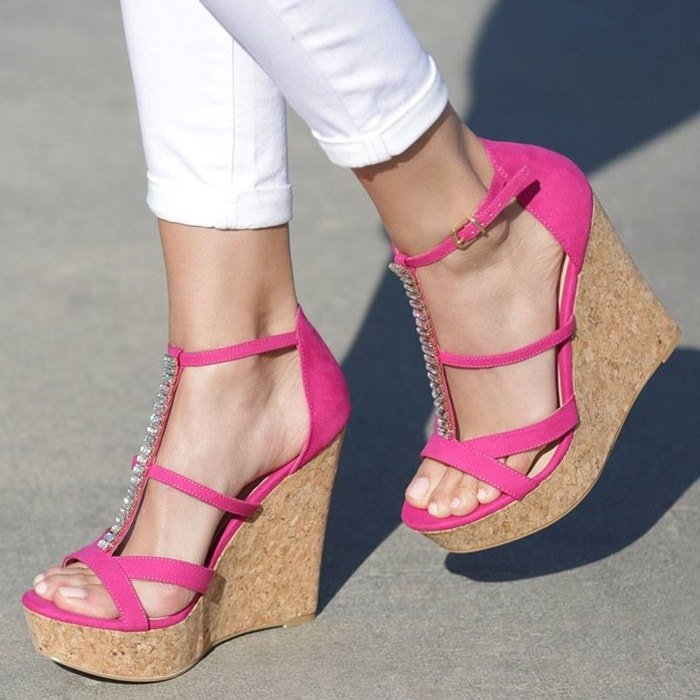 'Daia' Strappy Cork Wedges