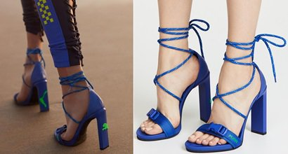 f2f65ab31ab482 Dazzling Blue Bungee Cord High-Heel Lace Up Sandals