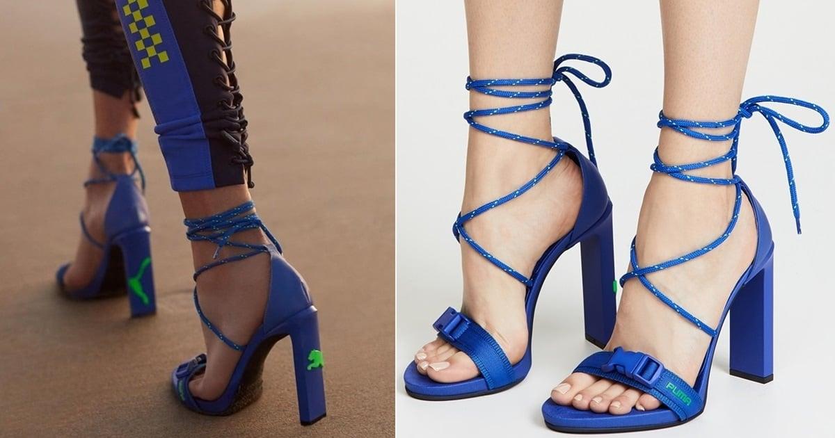 half off de043 88988 Dazzling Blue Bungee Cord High-Heel Lace Up Sandals
