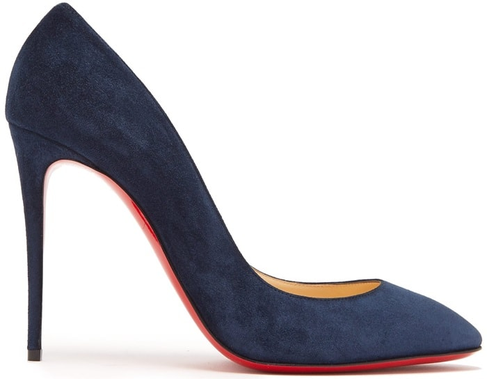 The elegant almond toe of these navy Eloise pumps by Christian Louboutin makes them a flattering choice that will be equally well-suited to the office as they are to evening events