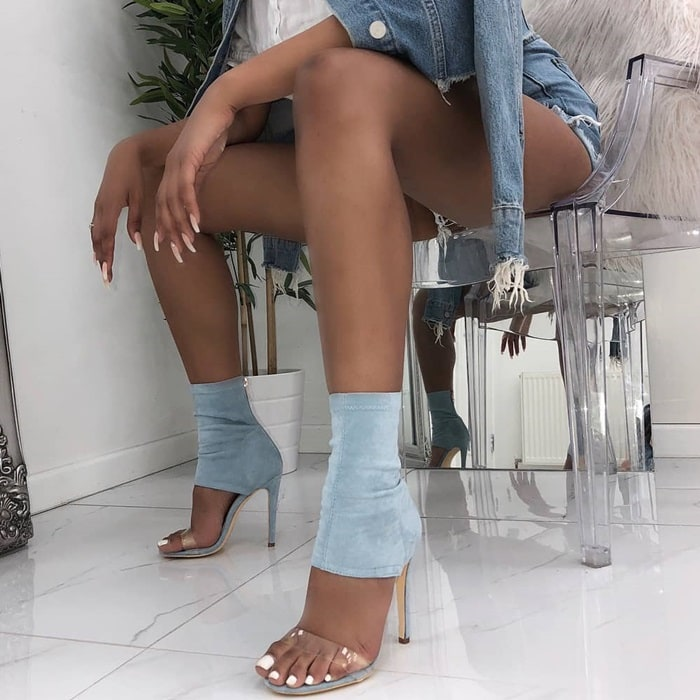 Suede Clear Ankle Stiletto Evelyn Heels