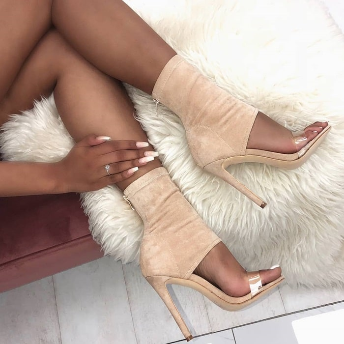 Nude Suede Clear Ankle Stiletto Evelyn Heels