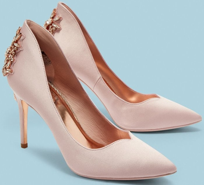 Finoula Embellished Heel Satin Pumps