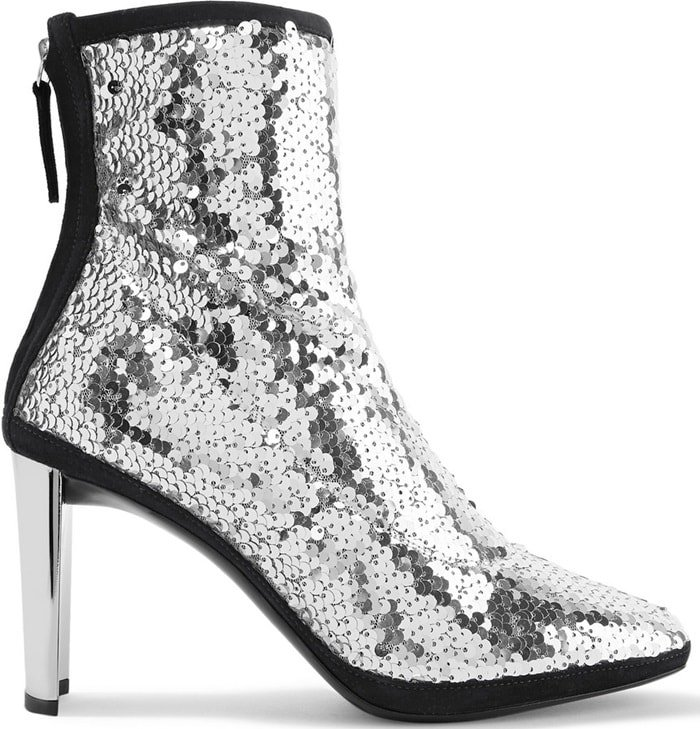 Set on a sculptural heel, these suede-trimmed 'Luce' boots are made from tulle and embellished with silver sequins that catch light from every angle