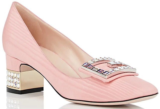 Gucci's Madelyn pumps are crafted of light pink silk moiré