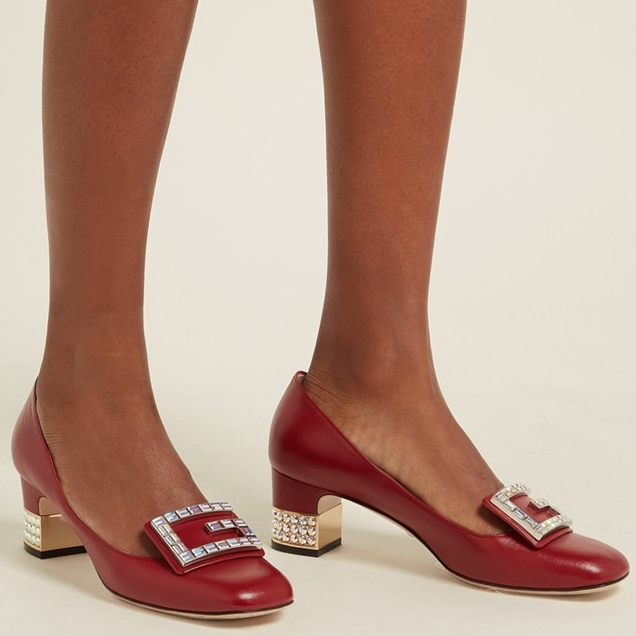 Gucci's red leather Madelyn pumps bring back the classic high-tongued shape in a contemporary rendition.