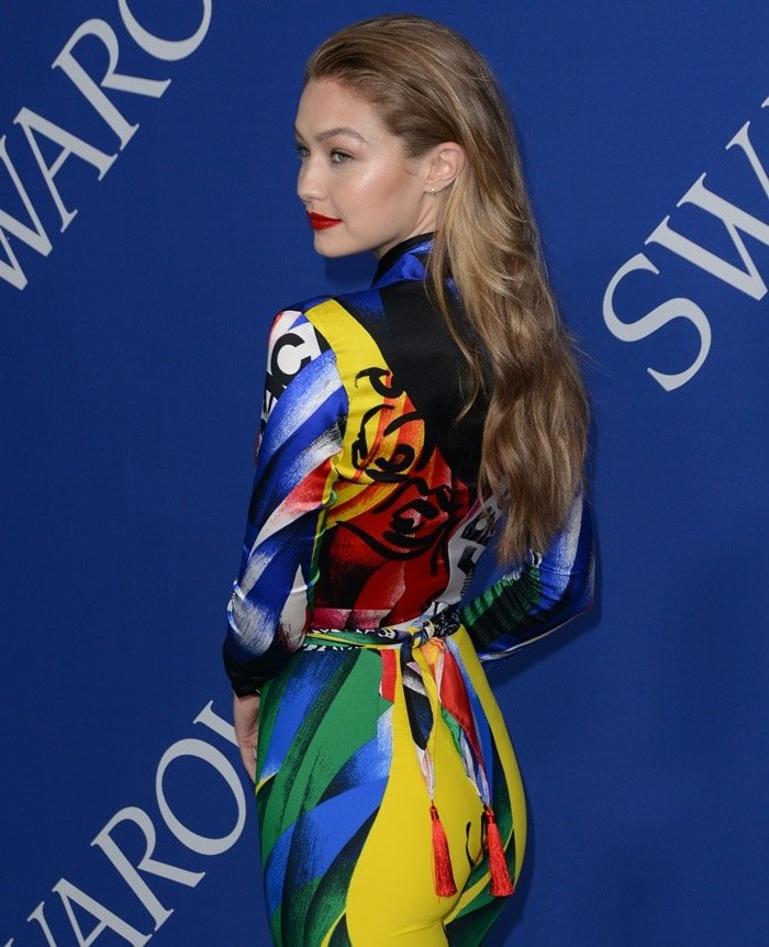 Gigi Hadid in the most colorful outfit of all time at the 2018 CFDA Fashion Awards