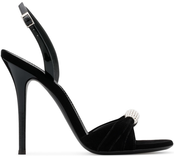 Black Velvet Sling-Back Sylvia Sandals With Crystal Brooch