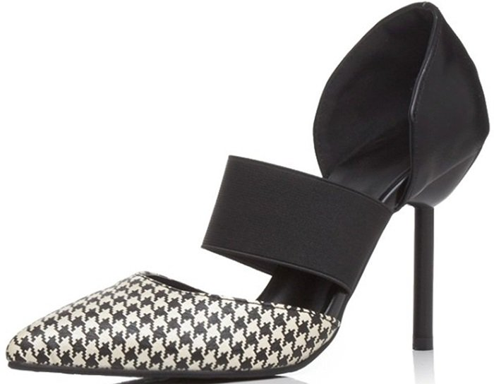 Houndstooth D'orsay Stiletto High Heel Pumps