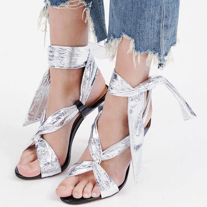 Silver WrapIRO Ankle Tie Pipa Stiletto Sandals