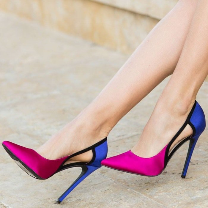Dressy colorblock pointed toe stiletto pump with cutout detail