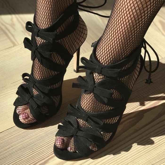 Isa Tapia Wes bow heel sandal in Black Kid suede