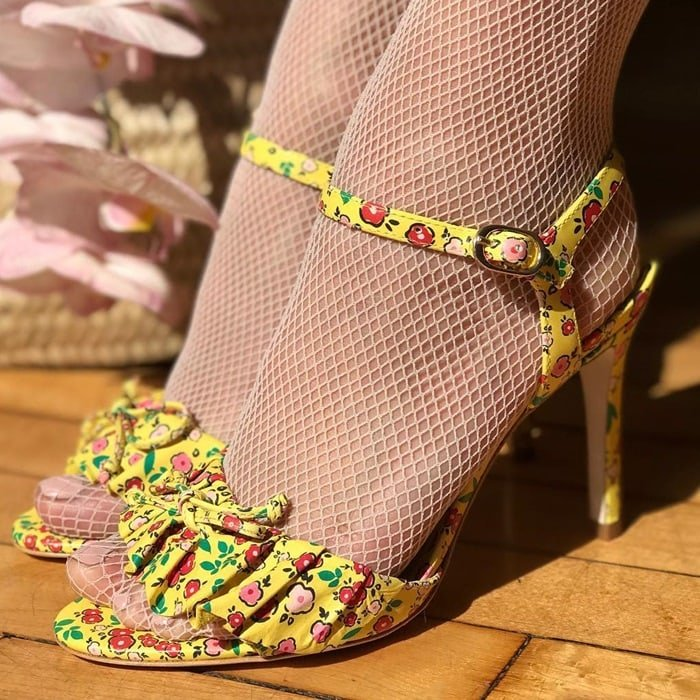 Isa Tapia Yellow Floral Heels