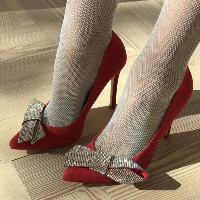 Isa Tapia red bow Crystal heel