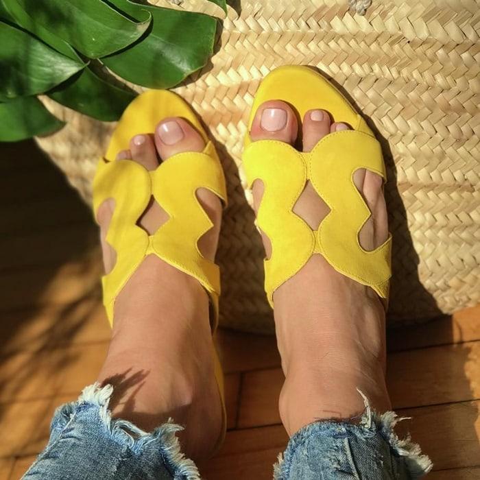 Isa Tapia yellow flats